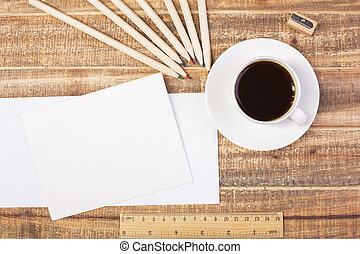 Envelopes, coffee and ruler top - Topview of two blank...
