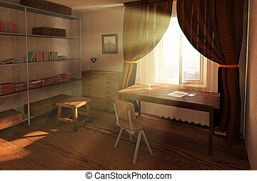 Sunlit room interior design with worklpace, bookshelves, red...