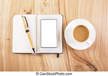Whte smartphone and coffee top - Topview of wooden desktop...