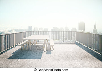Valcony design concrete - Balcony design with table and...