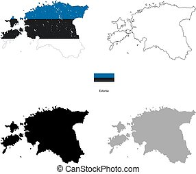 Estonia country black silhouette and with flag on background