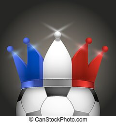 Soccer ball with French flag crown - Soccer ball with flag...