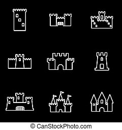 Vector line castle icon set Castle Icon Object, Castle Icon...