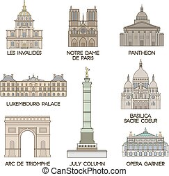 Famous places Paris - Famous places and famous architectural...