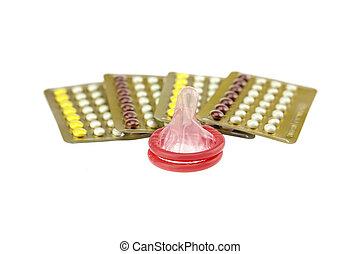macho, condón, y, oral, contraceptive.,...