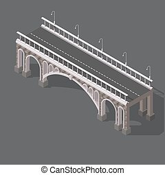 Isometric drawing of a stone bridge against white background