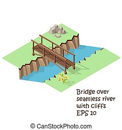 wooden bridge cross river - Vector isometric illustration of...