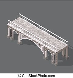 Isometric drawing of a stone bridge against white background...