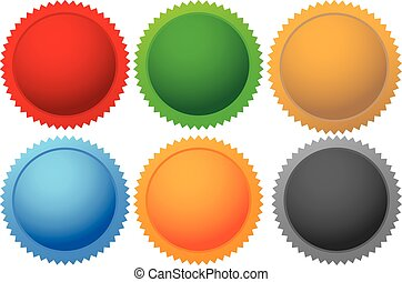 Colorful vector promotional labels - Six Colorful vector...