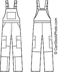 Overalls - Vector illustration of overalls with braces Front...