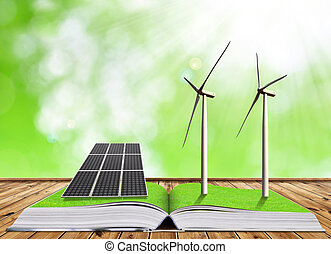 Ecological book with solar panel and wind turbines Clean...