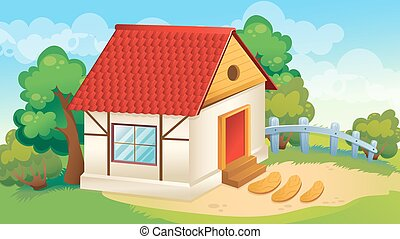 House And Village Courtyard - Vector cartoon game background...