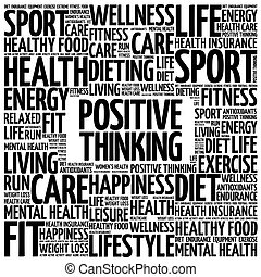 Positive thinking word cloud background, health concept