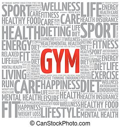 GYM word cloud background, health concept