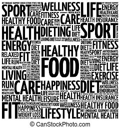 Healthy Food word cloud background, health concept