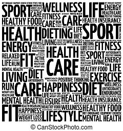 Health care word cloud background, health concept