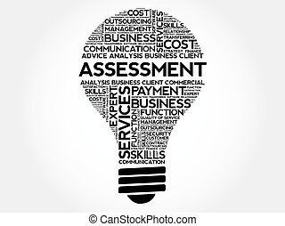 Assessment bulb word cloud, business concept