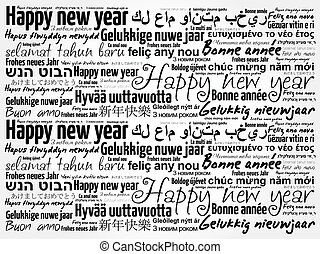 Happy New Year in different languages, celebration word...