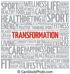 TRANSFORMATION word cloud background, health concept