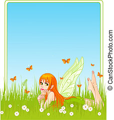 Fairy place card - Beautiful fairy lies on a grass,...