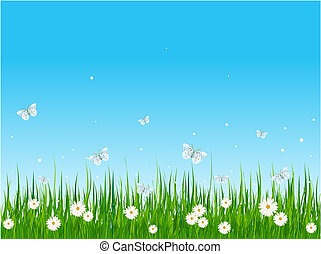 Grassy field and butterflies - Seamless illustration of...