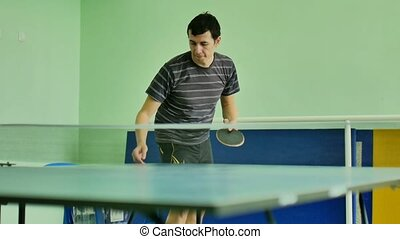 man feed serve playing athlete video table tennis sport slow...