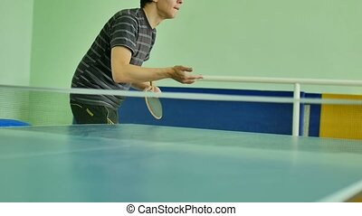 man feed serve playing sport athlete table tennis slow motion video backhand