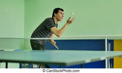 man feed serve sport playing athlete video table tennis slow...