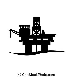 Vector black oil platform icon on white background. Oil...