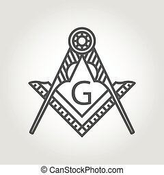 Vector grey masonic freemasonry emblem icon on grey...