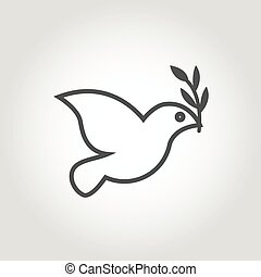 Vector white dove icon on grey background. Peace dove with...
