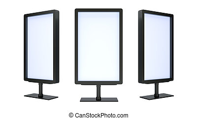 Blank black advertising billboards isolated on white...