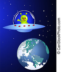 Alien visiting earth - Vector illustration of cute alien