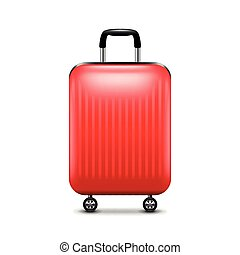 Red luggage isolated on white vector - Red luggage isolated...