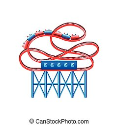 Roller coaster isolated on white vector