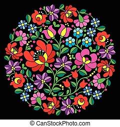 Kalocsai folk art embroidery - Vector background -...
