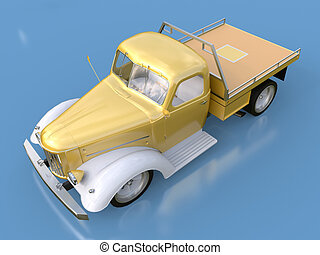 Old restored pickup. Pick-up in the style of hot rod. 3d...