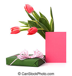gift with pink tulips  isolated on white background