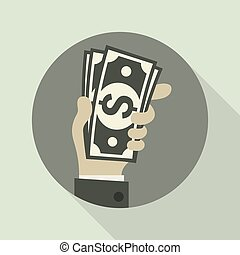 Paper bank notes. Money signs in hand. Vector illustration....