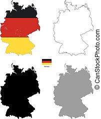 Germany country black silhouette and with flag on background