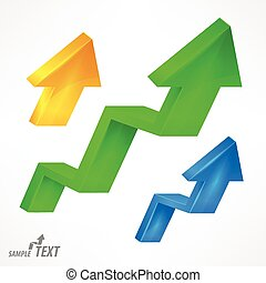 Arrow up color signs on white. Vector illustration