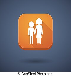 Square long shadow app button with a childhood pictogram -...