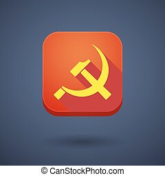 Square long shadow app button with the communist symbol -...