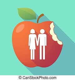 Long shadow red apple with a heterosexual couple pictogram -...
