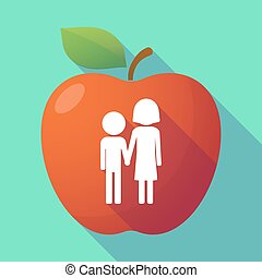 Long shadow red apple with a childhood pictogram -...