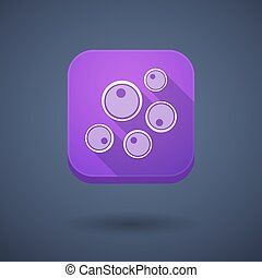 Square long shadow app button with oocytes - Illustration of...