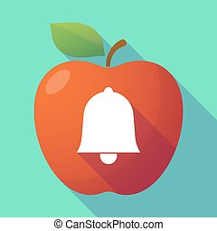 Long shadow red apple with a bell
