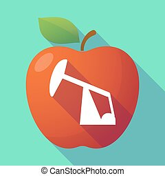 Long shadow red apple with a horsehead pump - Illustration...