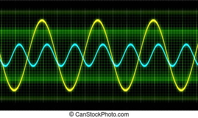 Seamless looping animation oscillogram sine waves