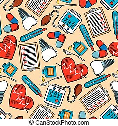 Colorful medical seamless background pattern
